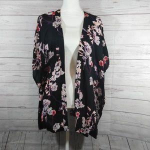 H&M black Floral open front kimono wrap cardigan